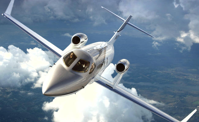 hondajet over water for an airplane appraiser